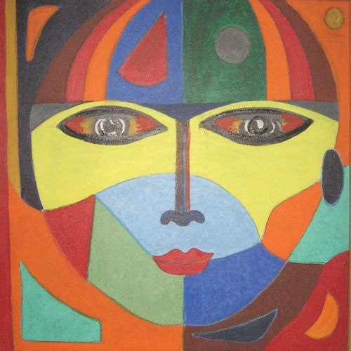mask [2], 30 x 30 inch, amit  sen,conceptual paintings,paintings for living room,canvas,acrylic color,30x30inch,GAL08592216