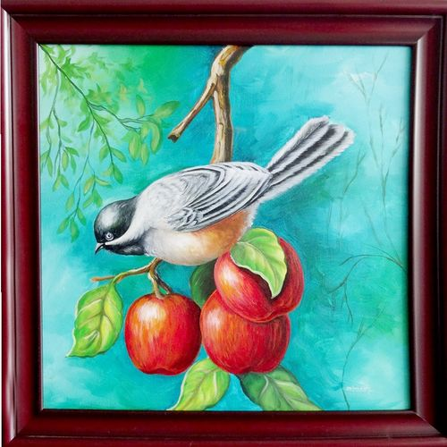 bird with apple, 29 x 29 inch, vgo cart,29x29inch,canvas,paintings,nature paintings,acrylic color,GAL01132722166Nature,environment,Beauty,scenery,greenery