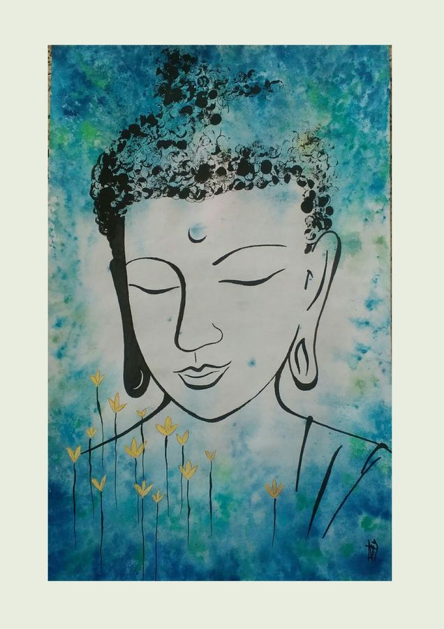 deep silence, 14 x 22 inch, ramya arumugam,14x22inch,thick paper,paintings,buddha paintings,paintings for dining room,paintings for living room,paintings for bedroom,paintings for office,paintings for kids room,paintings for hotel,paintings for kitchen,paintings for school,paintings for hospital,ink color,pen color,watercolor,ball point pen,GAL01066122169