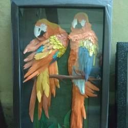 parrott  sclupture art, 15 x 8 inch, chetan kakade,15x8inch,thick paper,drawings,poster color,GAL01202522171