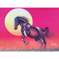 horse and sun, 29 x 23 inch, vgo cart,29x23inch,ivory sheet,paintings,wildlife paintings,animal paintings,paintings for living room,paintings for office,paintings for hotel,paintings for school,poster color,GAL01132722174