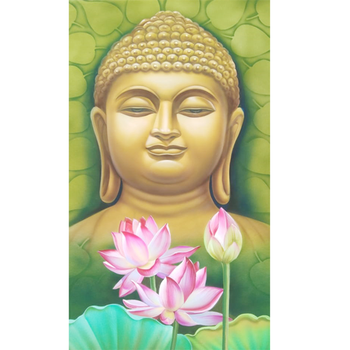 buddha with lotus, 25 x 29 inch, vgo cart,25x29inch,ivory sheet,paintings,religious paintings,paintings for living room,paintings for office,paintings for school,paintings for hospital,poster color,GAL01132722175