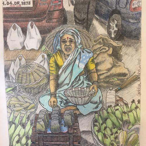 woman street vendor shouting, 9 x 13 inch, gretchen kwatra,9x13inch,drawing paper,drawings,illustration drawings,paintings for living room,paintings for bedroom,paintings for office,paintings for hotel,paintings for school,pencil color,GAL01203322183