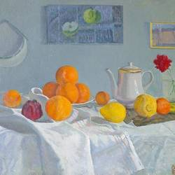 oranges, 39 x 24 inch, moesey li,still life paintings,paintings for living room,paintings,canvas,oil paint,39x24inch,GAL07182219