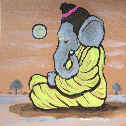 """enlightened ganesha"" (महायोगी), 8 x 8 inch, sandeep rawal ,8x8inch,thick paper,paintings,ganesha paintings,paintings for dining room,paintings for living room,paintings for office,paintings for kids room,paintings for hotel,paintings for kitchen,paintings for school,paintings for hospital,acrylic color,GAL0251122209,vinayak,ekadanta,ganpati,lambodar,peace,devotion,religious,lord ganesha,lordganpati,ganpati bappa morya,ganesh chaturthi,ganesh murti,elephant god,religious,lord ganesh,ganesha,om,hindu god,shiv parvati, putra,bhakti,blessings,aashirwad,pooja,puja,aarti,ekdant,vakratunda,lambodara,bhalchandra,gajanan,vinayak,prathamesh,vignesh,heramba,siddhivinayak,mahaganpati,omkar,mushak,mouse,ladoo,modak,shlok"