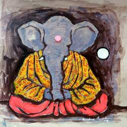 """enlightened ganesha"" (महायोगी), 8 x 8 inch, sandeep rawal ,8x8inch,thick paper,paintings,ganesha paintings,paintings for dining room,paintings for living room,paintings for office,paintings for kids room,paintings for hotel,paintings for kitchen,paintings for school,paintings for hospital,acrylic color,GAL0251122217,vinayak,ekadanta,ganpati,lambodar,peace,devotion,religious,lord ganesha,lordganpati,ganpati bappa morya,ganesh chaturthi,ganesh murti,elephant god,religious,lord ganesh,ganesha,om,hindu god,shiv parvati, putra,bhakti,blessings,aashirwad,pooja,puja,aarti,ekdant,vakratunda,lambodara,bhalchandra,gajanan,vinayak,prathamesh,vignesh,heramba,siddhivinayak,mahaganpati,omkar,mushak,mouse,ladoo,modak,shlok"