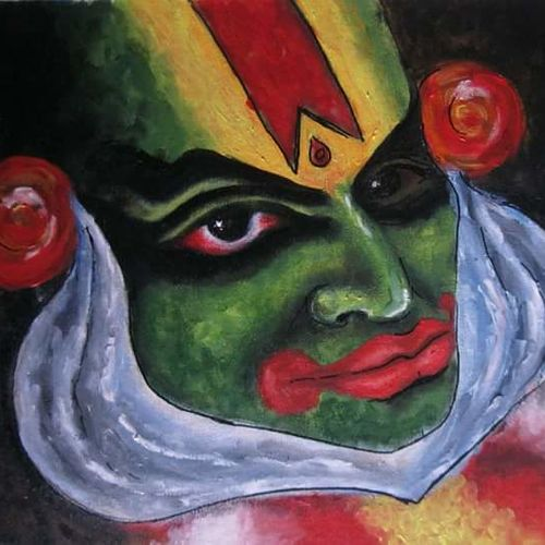 kathakali, 24 x 18 inch, santanu dash,modern art paintings,paintings for office,canvas,acrylic color,24x18inch,GAL08622222