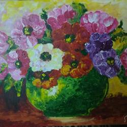 colourful flowers for positive vibes, 18 x 24 inch, jasmeen shekh,18x24inch,canvas,paintings,flower paintings,nature paintings,acrylic color,GAL095322231Nature,environment,Beauty,scenery,greenery