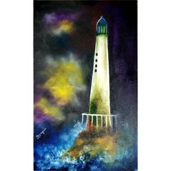 the lighthouse, 20 x 24 inch, samragnee  dutta,20x24inch,canvas,paintings,nature paintings,oil,GAL0351222241Nature,environment,Beauty,scenery,greenery