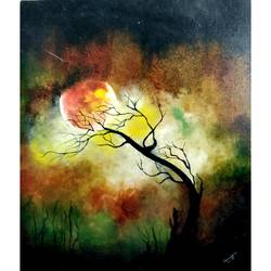 full moon, 20 x 24 inch, samragnee  dutta,20x24inch,canvas,paintings,abstract paintings,landscape paintings,nature paintings,oil,GAL0351222247Nature,environment,Beauty,scenery,greenery