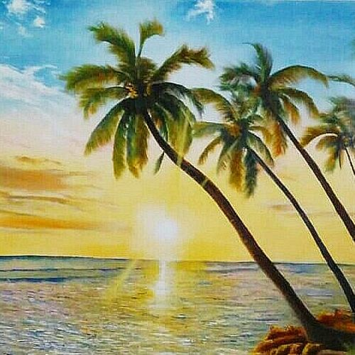 sunset beach , 32 x 23 inch, md moin ,32x23inch,canvas,paintings,landscape paintings,paintings for living room,paintings for office,paintings for living room,paintings for office,oil,GAL01096022254