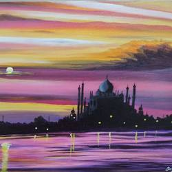 taj mahal at evening, 12 x 16 inch, sandhya kumari,12x16inch,canvas board,paintings,figurative paintings,landscape paintings,nature paintings,paintings for dining room,paintings for living room,paintings for bedroom,paintings for office,paintings for kids room,paintings for hotel,paintings for kitchen,paintings for school,paintings for hospital,acrylic color,GAL0365922256Nature,environment,Beauty,scenery,greenery
