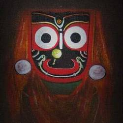 jagannath, 48 x 30 inch, santanu dash,religious paintings,paintings for office,paintings for living room,hardboard,enamel color,48x30inch,GAL08622226