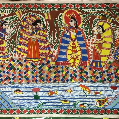 radha krishna at shore, 20 x 30 inch, asmita mishra,20x30inch,thick paper,paintings,madhubani paintings,acrylic color,GAL01208722267