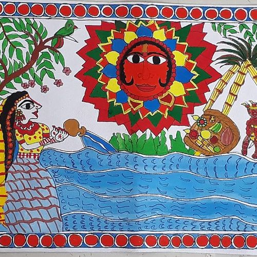 sun god in chhath puja, 20 x 25 inch, asmita mishra,20x25inch,thick paper,paintings,madhubani paintings,acrylic color,GAL01208722270