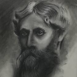 charcoal rabindranath tagore sketch (framed), 11 x 14 inch, sanya singh,11x14inch,thick paper,drawings,fine art drawings,photorealism drawings,portrait drawings,realism drawings,paintings for dining room,paintings for living room,paintings for bedroom,paintings for office,paintings for hotel,paintings for school,charcoal,GAL01074222275