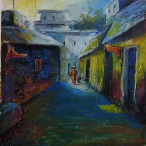 landscape , 18 x 24 inch, arpita biswas dasgupta,18x24inch,fabriano sheet,paintings,cityscape paintings,conceptual paintings,paintings for dining room,paintings for living room,paintings for bedroom,paintings for office,paintings for bathroom,paintings for kids room,paintings for hotel,paintings for kitchen,paintings for school,paintings for hospital,pastel color,GAL01013622286