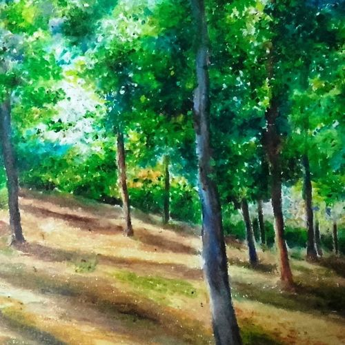 beauty of light, 18 x 24 inch, arpita biswas dasgupta,18x24inch,fabriano sheet,paintings,landscape paintings,nature paintings,realistic paintings,paintings for living room,paintings for office,paintings for kids room,paintings for hotel,paintings for kitchen,pastel color,GAL01013622290Nature,environment,Beauty,scenery,greenery