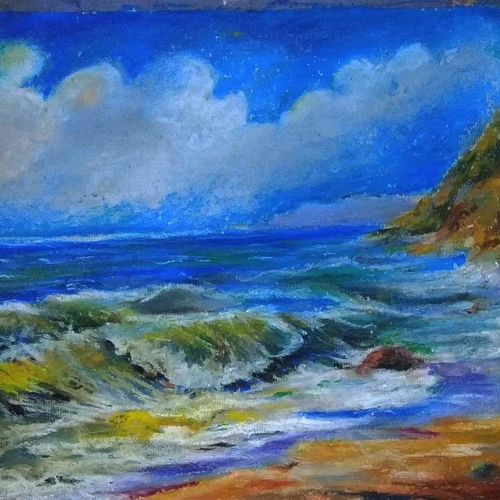 waves, 18 x 24 inch, arpita biswas dasgupta,18x24inch,fabriano sheet,paintings,nature paintings,contemporary paintings,paintings for dining room,paintings for living room,paintings for bedroom,paintings for kids room,pastel color,GAL01013622291Nature,environment,Beauty,scenery,greenery