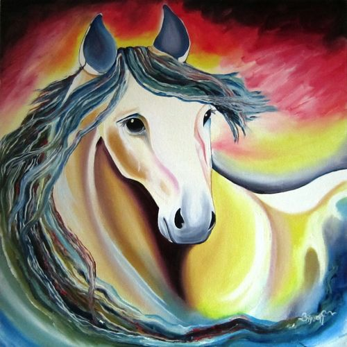 the horse, 20 x 20 inch, aparna warade,paintings for living room,horse paintings,canvas,oil,20x20inch,GAL089223