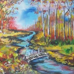 autumn play, 12 x 8 inch, subrata chakraborty,12x8inch,handmade paper,paintings,landscape paintings,nature paintings,paintings for dining room,paintings for living room,paintings for bedroom,paintings for office,paintings for hotel,paintings for school,paintings for hospital,acrylic color,GAL01168522301Nature,environment,Beauty,scenery,greenery