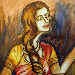the lady with the flowers, 46 x 36 inch, kirti tak,46x36inch,canvas,paintings,figurative paintings,acrylic color,oil,GAL01202822303