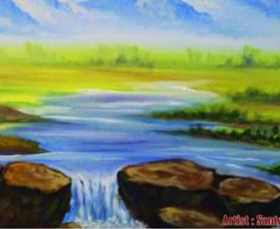 mountain view, 24 x 18 inch, santanu dash,nature paintings,paintings for bedroom,canvas,acrylic color,24x18inch,GAL08622231Nature,environment,Beauty,scenery,greenery