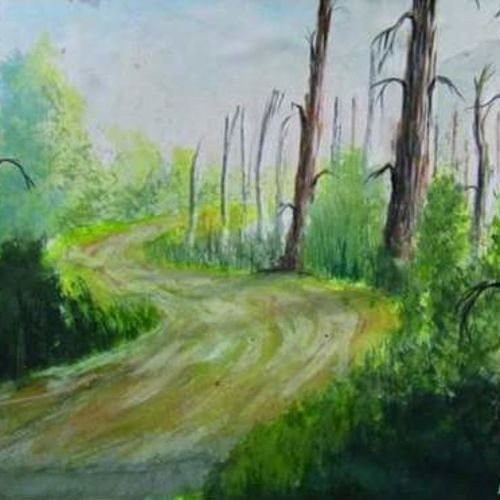 untroden way, 24 x 18 inch, santanu dash,nature paintings,paintings for living room,paintings for office,thick paper,watercolor,24x18inch,GAL08622232Nature,environment,Beauty,scenery,greenery