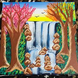 waterfall painting, 12 x 12 inch, swati verma,12x12inch,canvas,paintings,nature paintings,paintings for living room,paintings for bedroom,acrylic color,GAL01124322320Nature,environment,Beauty,scenery,greenery