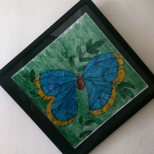 glass painting butterfly, 14 x 14 inch, soniya sharma,14x14inch,ohp plastic sheets,paintings,nature paintings,paintings for living room,paintings for office,paintings for kids room,glass,GAL01144722327Nature,environment,Beauty,scenery,greenery