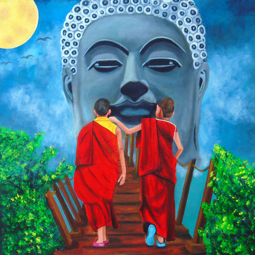 way of buddha, 31 x 32 inch, rijoy  emmanuel,31x32inch,canvas,paintings,buddha paintings,figurative paintings,religious paintings,nature paintings,children paintings,kids paintings,paintings for living room,paintings for bedroom,paintings for kids room,acrylic color,GAL0643122330Nature,environment,Beauty,scenery,greenery