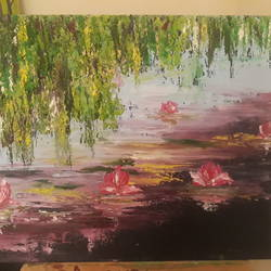 water lilies, 16 x 12 inch, anurupa  chatterjee,16x12inch,canvas board,paintings,abstract paintings,flower paintings,paintings for dining room,paintings for living room,paintings for bedroom,paintings for hotel,paintings for hospital,paintings for dining room,paintings for living room,paintings for bedroom,paintings for hotel,paintings for hospital,oil,GAL01226022332