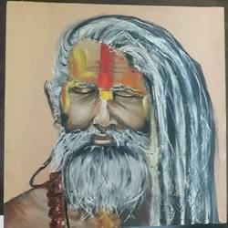 strokes of wisdom, 12 x 12 inch, anurupa  chatterjee,12x12inch,canvas board,paintings,portrait paintings,paintings for dining room,paintings for living room,paintings for bedroom,paintings for hotel,paintings for hospital,oil,GAL01226022333