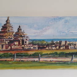 shore temple, 24 x 12 inch, anurupa  chatterjee,24x12inch,canvas board,paintings,landscape paintings,religious paintings,paintings for dining room,paintings for living room,paintings for bedroom,paintings for office,paintings for hotel,paintings for hospital,watercolor,GAL01226022334