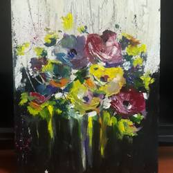 bouquet of colours, 9 x 12 inch, anurupa  chatterjee,9x12inch,canvas board,paintings,abstract paintings,flower paintings,paintings for dining room,paintings for living room,paintings for bedroom,paintings for office,paintings for kids room,paintings for hotel,paintings for school,paintings for hospital,acrylic color,oil,GAL01226022337