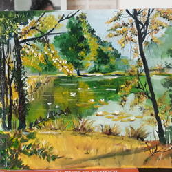 water landscape, 10 x 8 inch, anurupa  chatterjee,10x8inch,canvas,paintings,landscape paintings,paintings for dining room,paintings for living room,paintings for bedroom,paintings for office,paintings for kids room,paintings for hotel,paintings for hospital,oil,GAL01226022339