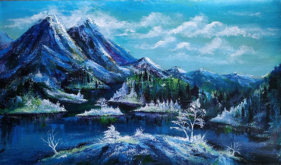 mountain lake view, 28 x 16 inch, dipu jose,28x16inch,canvas,paintings,nature paintings,paintings for dining room,paintings for living room,paintings for bedroom,paintings for office,paintings for hotel,acrylic color,GAL0727222353Nature,environment,Beauty,scenery,greenery,mountains,snow,snowy,water,lake