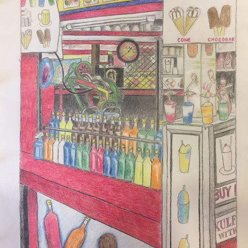 mumbai gola vendor, 9 x 13 inch, gretchen kwatra,9x13inch,drawing paper,drawings,documentary drawings,figurative drawings,illustration drawings,paintings for dining room,paintings for living room,paintings for bedroom,paintings for office,paintings for kids room,paintings for hotel,paintings for school,paintings for hospital,pencil color,GAL01203322357
