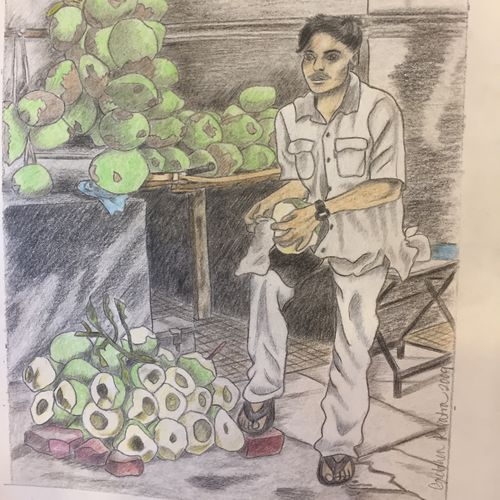 mumbai coconut water vendor, 9 x 13 inch, gretchen kwatra,9x13inch,drawing paper,drawings,documentary drawings,figurative drawings,illustration drawings,paintings for dining room,paintings for living room,paintings for bedroom,paintings for office,paintings for hotel,paintings for school,pencil color,GAL01203322358