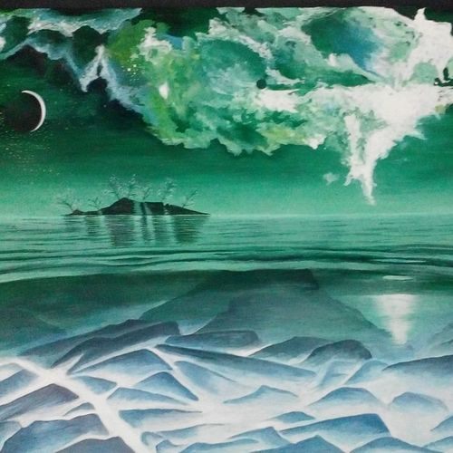 green nature, 33 x 23 inch, shweta goyal,nature paintings,paintings for living room,ivory sheet,poster color,33x23inch,GAL08452236Nature,environment,Beauty,scenery,greenery,trees,water,beautiful,moon,night,clouds