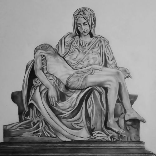 the pieta, 11 x 17 inch, shivkumar  menon,11x17inch,drawing paper,drawings,art deco drawings,fine art drawings,portrait drawings,paintings for living room,graphite pencil,GAL098622363