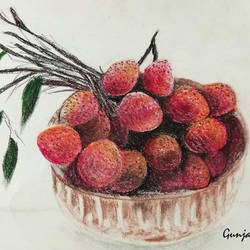 litchi, 12 x 16 inch, gunjan  agrawal,12x16inch,cartridge paper,paintings,pastel color,GAL01231022366