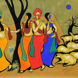 musician group, 46 x 35 inch, chetan katigar,46x35inch,canvas,paintings,abstract paintings,figurative paintings,modern art paintings,religious paintings,abstract expressionist paintings,art deco paintings,expressionist paintings,impressionist paintings,paintings for living room,paintings for bedroom,paintings for office,paintings for kids room,paintings for hotel,acrylic color,GAL026622369