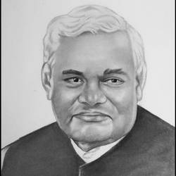 ex-prime minister of india atal bihari vajpayee, 11 x 17 inch, shivkumar  menon,11x17inch,drawing paper,drawings,art deco drawings,fine art drawings,portrait drawings,paintings for living room,graphite pencil,GAL098622372