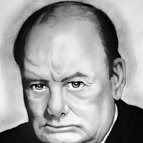 ex-prime minister of united kingdom sir winston churchill, 8 x 10 inch, shivkumar  menon,8x10inch,drawing paper,drawings,art deco drawings,fine art drawings,portrait drawings,paintings for dining room,paintings for living room,graphite pencil,GAL098622376