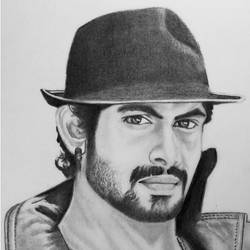 indian actor rana daggubati, 8 x 10 inch, shivkumar  menon,8x10inch,drawing paper,drawings,art deco drawings,fine art drawings,portrait drawings,paintings for living room,graphite pencil,GAL098622377