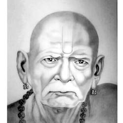 indian guru swami samarth, 8 x 10 inch, shivkumar  menon,8x10inch,drawing paper,drawings,art deco drawings,fine art drawings,portrait drawings,paintings for living room,graphite pencil,GAL098622380