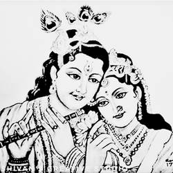radha and krishna, 11 x 16 inch, shivkumar  menon,11x16inch,drawing paper,drawings,paintings for living room,art deco drawings,fine art drawings,radha krishna drawings,paintings for living room,graphite pencil,GAL098622385