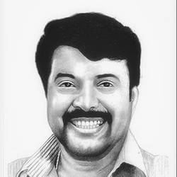 indian film actor mammootty, 8 x 11 inch, shivkumar  menon,8x11inch,drawing paper,drawings,art deco drawings,fine art drawings,portrait drawings,paintings for dining room,paintings for living room,graphite pencil,GAL098622388
