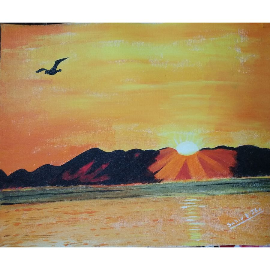 sun rise, 20 x 16 inch, subir jha,20x16inch,canvas,paintings,abstract paintings,cityscape paintings,landscape paintings,paintings for dining room,paintings for living room,paintings for bedroom,paintings for office,paintings for kids room,paintings for hotel,paintings for school,paintings for hospital,acrylic color,GAL01191622394